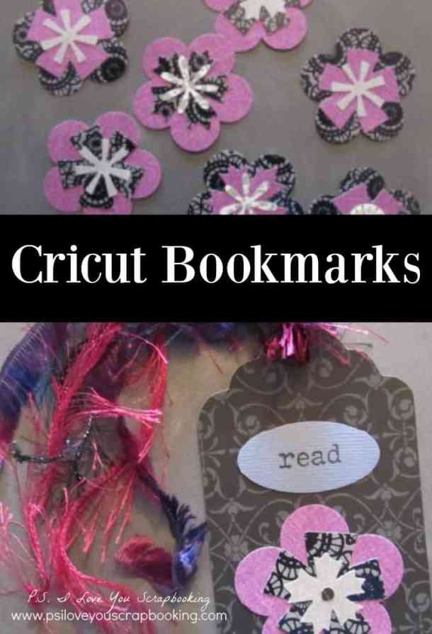 Bookmarks are easy to make with the Cricut. Many of the Cricut Cartridges have shapes and tags that are perfect for bookmarks. You can add decorate edges, rubber stamping, die cuts, tassels, and ribbon to decorate your bookmarks. It's a great group activity. I want to make these with my niece and her friends!