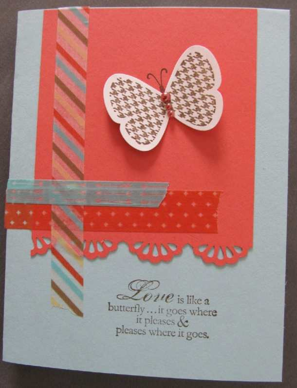 Washi Tape Card with a print butterfly from Stampin' Up.  Washi Tape is great for handmade cards.