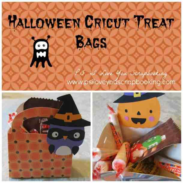 Halloween Cricut Treat Bags - These handmade Halloween Cards, Invitations, and Treat Bags use a variety of materials from buttons to the Cricut. With just a few supplies, you can create fun Halloween paper crafting projects too.