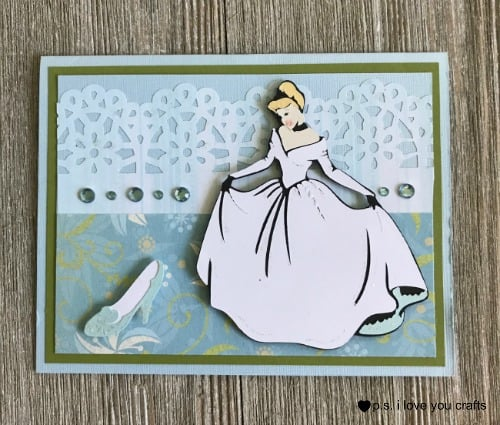 Use your Cricut to make a beautiful Cinderella Card for a little girls birthday.