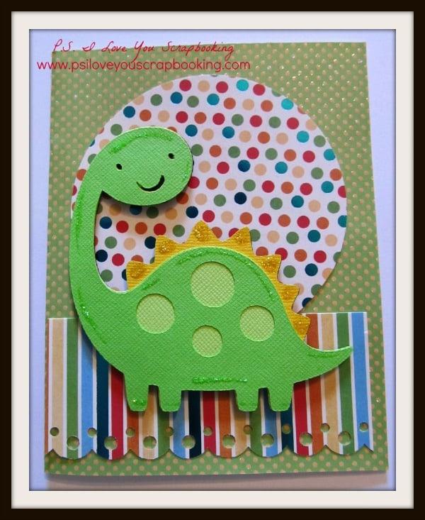 Child's Cricut Dinosaur Card Using the Create A Critter Cricut Cartridge by PS I Love You