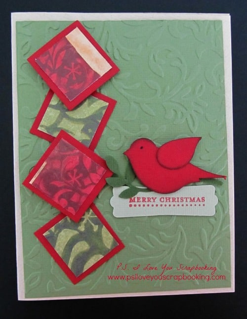 Handmade Christmas Card using Stampin' Up Build A Bird Punch - Here are lots of ideas for Handmade Christmas Cards. They can be easy and simple or they can be complex. Rubber stamps, Cricut die cuts, the Spellbinder, and punches are all great tools when creating Christmas Greeting Cards.