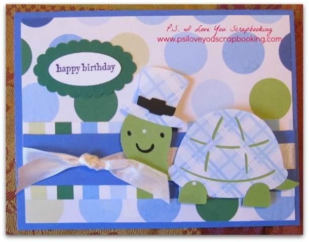 Turtle Cricut Birthday Card using Create A Critter 2 Cricut Cartridge