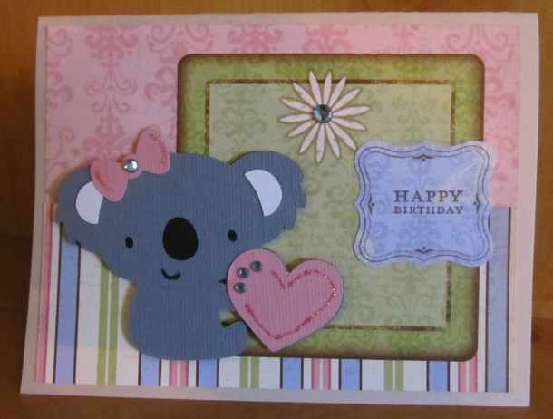 Koala Bear Cricut Birthday Card using Create a Critter 2 Cricut Cartridge