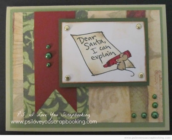 Here are lots of ideas for Handmade Christmas Cards. They can be easy and simple or they can be complex. Rubber stamps, Cricut die cuts, the Spellbinder, and punches are all great tools when creating Christmas Greeting Cards. Dear Santa rubber stamp from Stampabilities - Handmade Christmas Card
