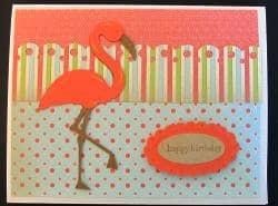 Life is a Beach Cricut Cartridge flamingo birthday card
