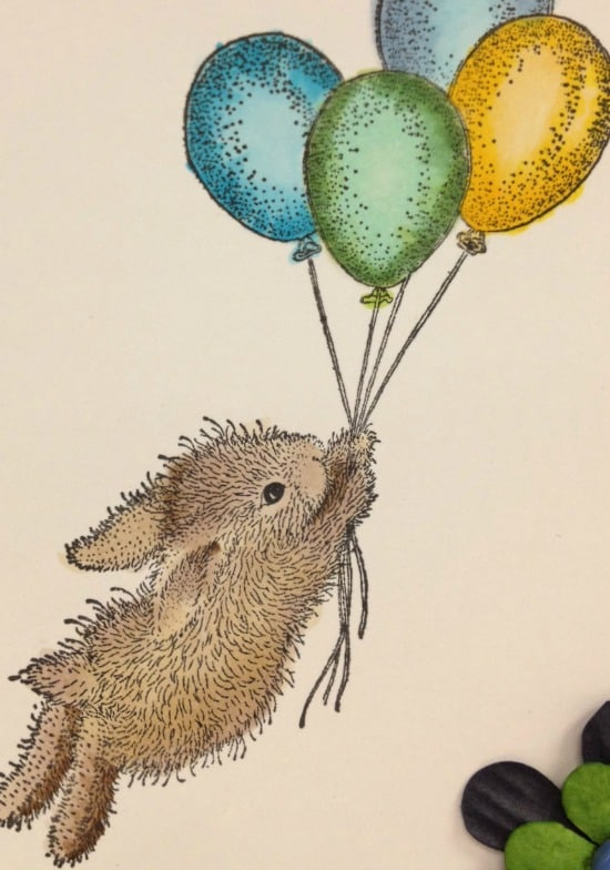 House Mouse Bunny with Balloons Stamp colored with Copic Markers