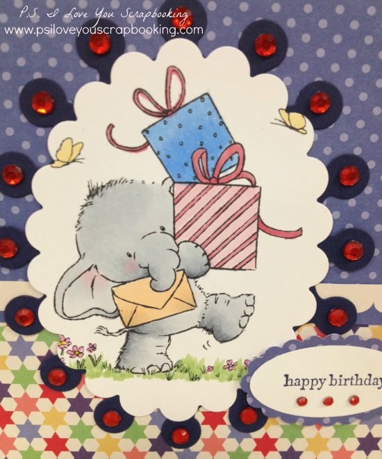 Wild Rose Studio Bella with Presents Stamp - Bella the Elephant so so cute, and she's delivering presents to celebrate someone's birthday!
