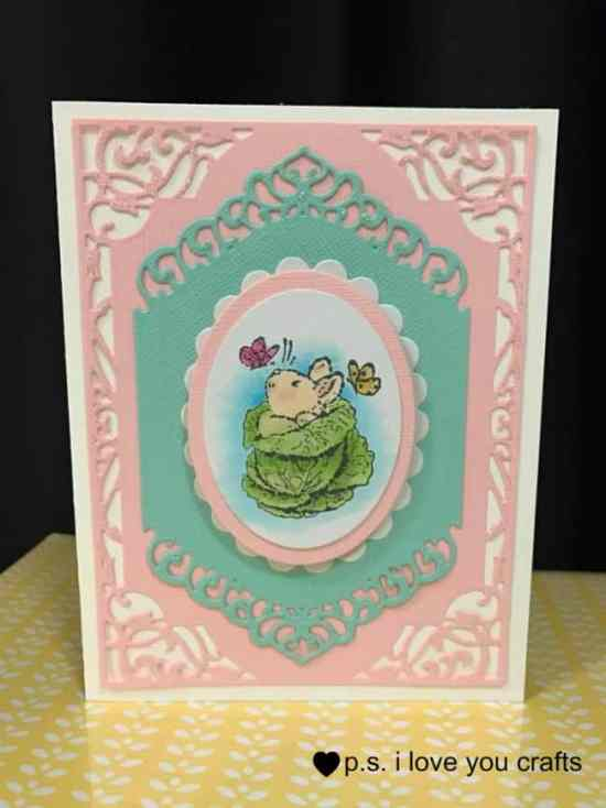 This Bunny Easter Card is a stamp from a Penny Black Set. I colored it with Copic Markers. The die cuts from Spellbinders Card Creators Dies. I added Wink of Stella and Stickles glitter to finish the card.