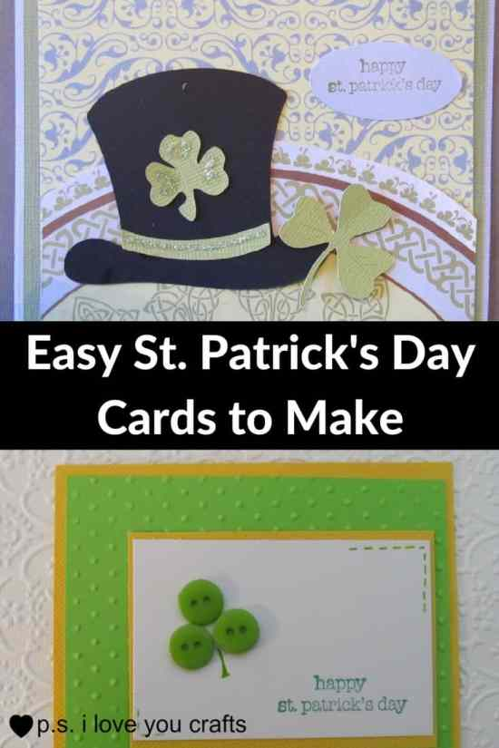 St. Patrick's Day Cards are easy to make with an assortment of green and white papers, shamrock die cuts, pot of gold stickers, buttons, rhinestones, glitter, and foam shapes.