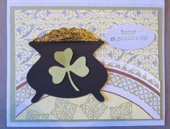 Pot of Gold and Shamrock Card - St. Patrick's Day Cards are easy to make with an assortment of green and white papers, shamrock die cuts, pot of gold stickers, buttons, rhinestones, glitter, and foam shapes.
