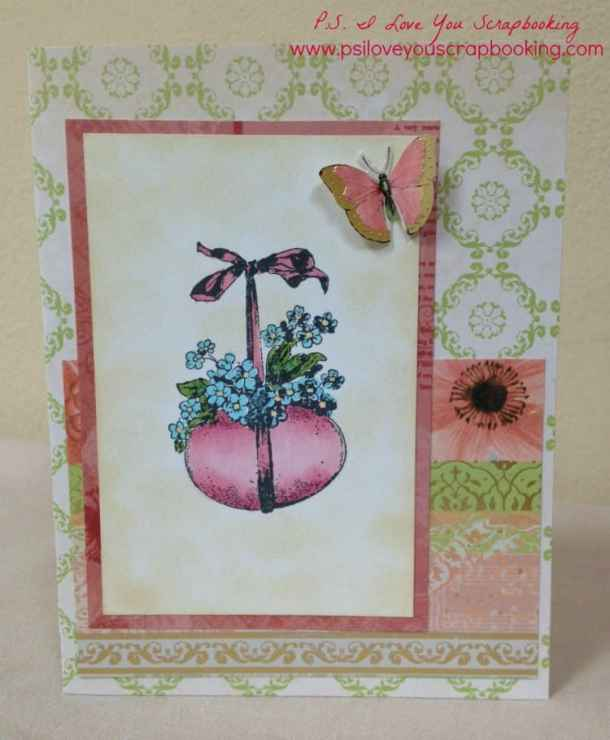Vintage Easter Card using a stamp from Graphic 45 and Hampton Arts. Papers are The Butterfly Garden Stack by Die Cuts With A View. Beautiful card!