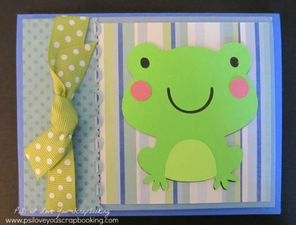 This Create A Critter Cricut Frog Card is so cute!  Post includes instructions and measurements so you can make the card too!