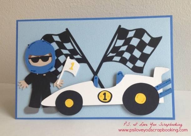 Cricut Racecar Card - Everyday Paper Dolls Cricut Cartridge Review