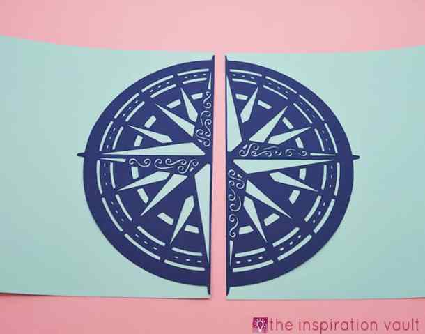 Nautical Cricut Scrapbook Layout Compass Die Cut - Nautical Cricut Scrapbook Layout Craft Tutorial - Make this awesome Nautical Cricut Layout using the Edge to Edge and Create A Friend Cricut Cartridges. The washi tape flags were fun to make and a great addition to this page. You will be ready to scrapbook your sailing, fishing trip, or boating photos after creating this great scrapbook layout.