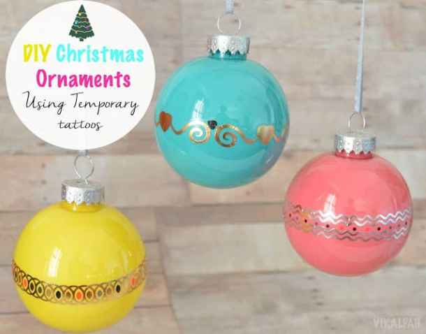 Temporary Tattoo Ornaments - Handmade Christmas Ornaments are so much to create during the holiday season. Here are 65+ Homemade Christmas Ornaments for Kids and Adults. They are broken down into felt ornaments, Christmas balls, country and rustic Christmas ornaments, and Christmas ornaments that kids can make.