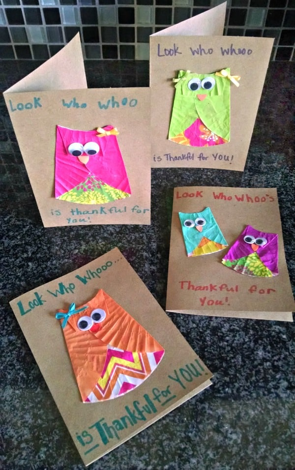 Owl Thank You Cards - Here are 20 Fall Paper Crafts to enjoy with your friends and family. Fall Home Decor, Fall and Thanksgiving Handmade Cards, Fall Printables, Kids' Crafts leaves, pumpkins, feathers, and so much more!