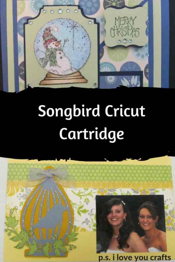 The Songbird Cricut Cartridge has bird houses, bird cages, branches, and birds. It also has bird related phrases. It's a fun cartridge for outdoor themed Cricut Projects.
