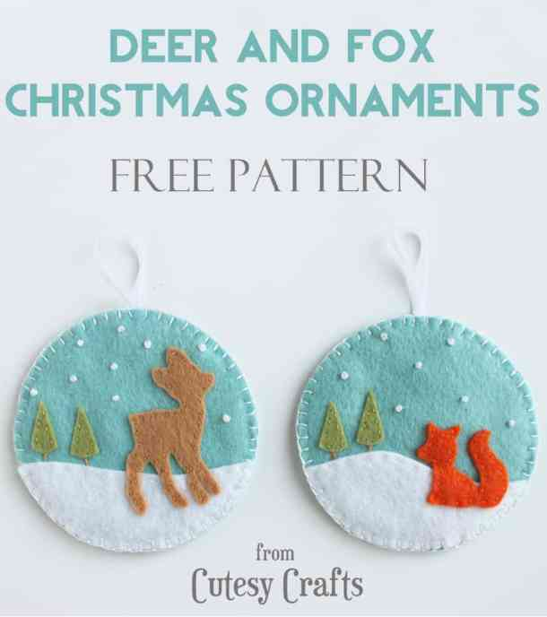 Felt Deer and Fox Ornaments - Handmade Christmas Ornaments are so much to create during the holiday season. Here are 65+ Homemade Christmas Ornaments for Kids and Adults. They are broken down into felt ornaments, Christmas balls, country and rustic Christmas ornaments, and Christmas ornaments that kids can make.