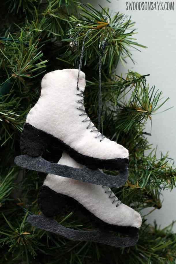 Felt Ice Skate - Handmade Christmas Ornaments are so much to create during the holiday season. Here are 65+ Homemade Christmas Ornaments for Kids and Adults. They are broken down into felt ornaments, Christmas balls, country and rustic Christmas ornaments, and Christmas ornaments that kids can make.