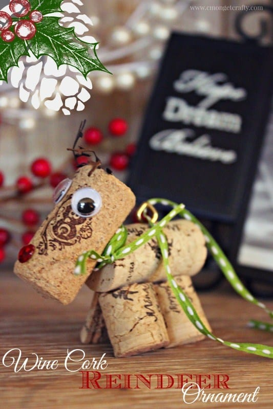 Wine Cork Reindeer - Handmade Christmas Ornaments are so much to create during the holiday season. Here are 65+ Homemade Christmas Ornaments for Kids and Adults. They are broken down into felt ornaments, Christmas balls, country and rustic Christmas ornaments, and Christmas ornaments that kids can make.