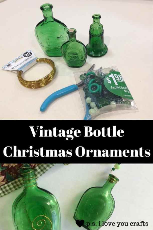 Vintage Glass Bottle Christmas Ornaments inspired by the Miracle on 34th Street.  I used old green glass bottles, copper wire, and beads to make these great ornaments.