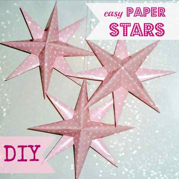 Easy Paper Stars - Here are more than 30 Christmas Paper Crafts for you to try this season. There are handmade Christmas Cards, decorations, Christmas ornaments, Gift wrapping ideas, gift tags, and printable Christmas decor. So many great ideas!