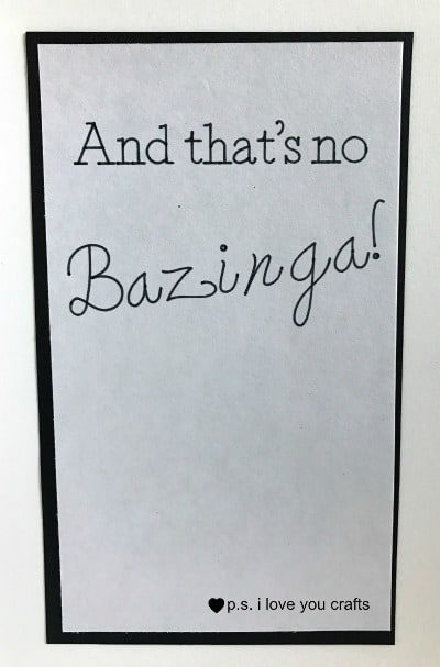 Big Bang Theory Valentine's Day Card - I Love You More Than Sheldon Loves His Spot. Card has red glitter paper with an atom and heart and Bazinga! on the inside. The writing and die cuts are done with the Cricut Explore Machine. It's the perfect Valentine's Day Card for my husband.