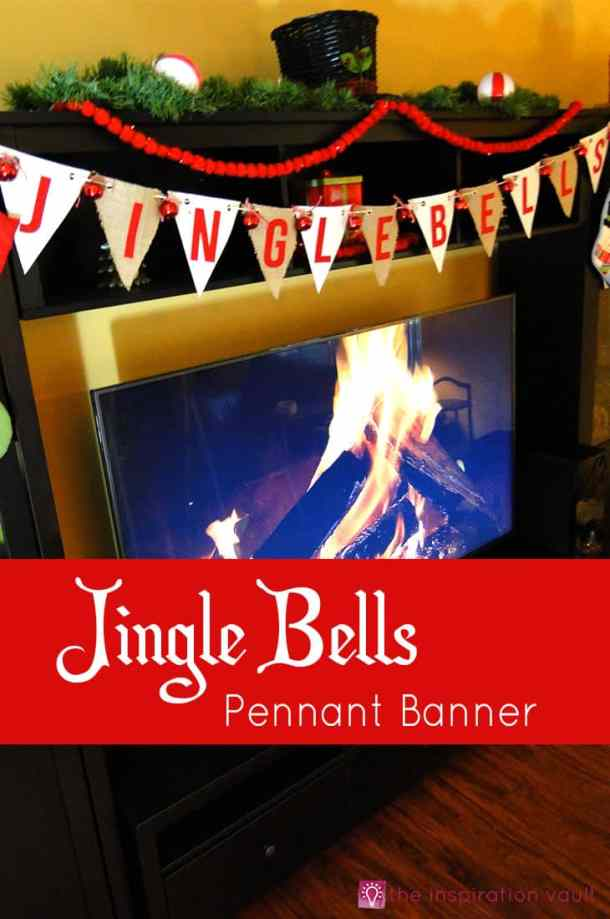 Jingle Bells Pennant Banner - DIY Pennant Banners can be made for any holiday or occasion. They look great hanging on a mantel as part of your home decor or on the wall for a party decoration. They are easy to make to fit any theme or budget. They are particular popular for birthday parties, and bridal showers,