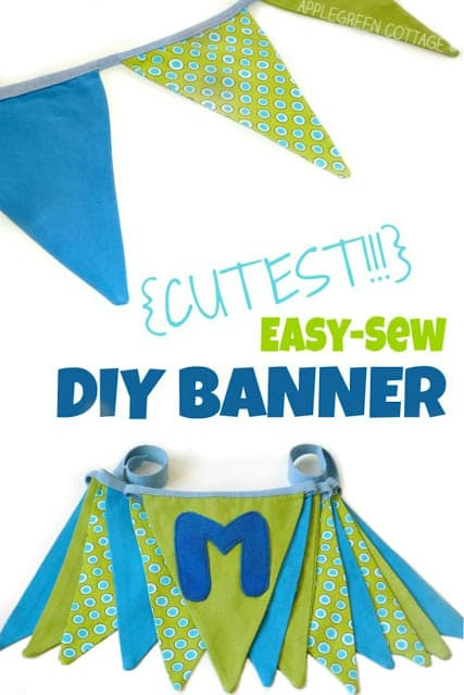 Easy Sew Fabric Banner - DIY Pennant Banners can be made for any holiday or occasion. They look great hanging on a mantel as part of your home decor or on the wall for a party decoration. They are easy to make to fit any theme or budget. They are particular popular for birthday parties, and bridal showers,