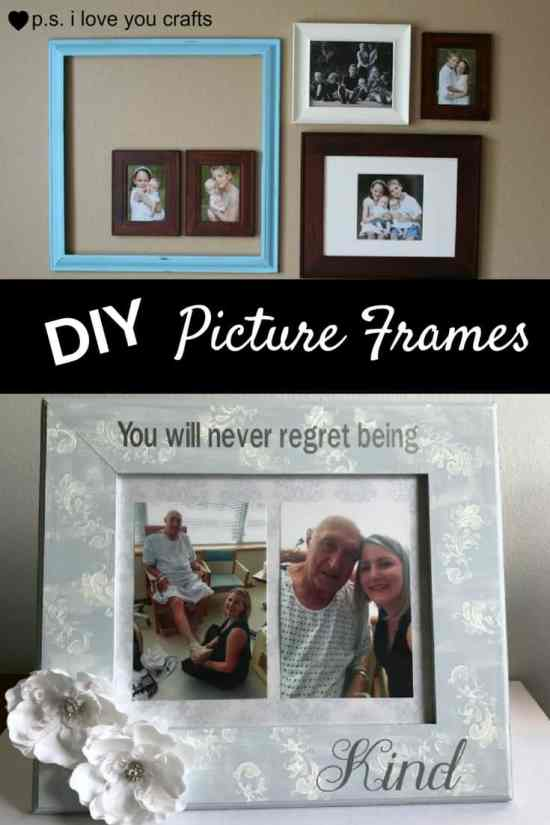 Here are more than 20 DIY Picture Frames for you to make. You can use plain wooden frames from the craft store or you can upcycle and old frame.