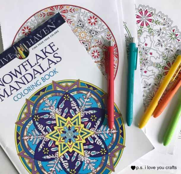 This Adult Coloring Book Project is a great way to display your completed coloring book pages. Hang these to decorate your craft room! Start by coloring all of your pages.