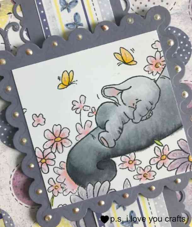 This Baby Elephant Card with Wild Rose Studio stamp is so sweet to welcome baby or for a baby shower.