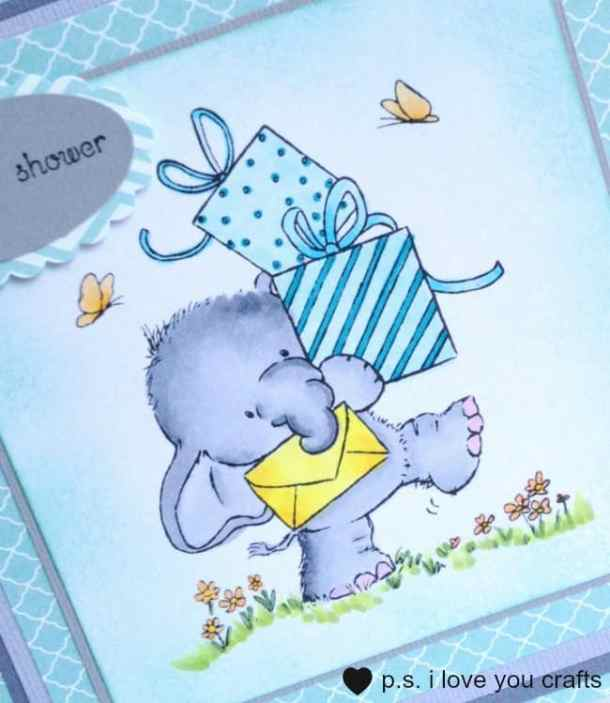 Ella with presents Baby Shower Card - Wild Rose Studio has the most adorable stamps for making greeting cards. There's Bella the Elephant, Bluebell the Deer, and so many more cute critters. Wild Rose Studio stamps and cards made with them are beautiful. They also have sentiment stamps, steel dies, papers, and printed panels.