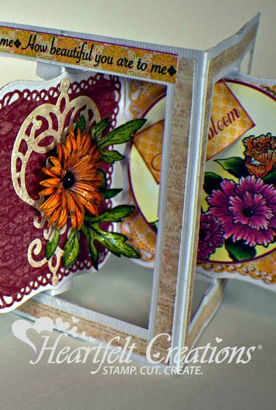 This gorgeous spring flower accordian card uses supplies from Heartfelt Creations.