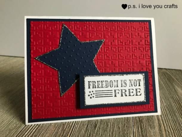 These patriotic party decorations are made from paper and a rubber stamp from Simply Stamps. It says Freedom iIs Not Free. There's a napking ring, card or invitation, and a pennant to to celebrate Fourth of July, Veteran's Day, Memorial Day, or Patriot's Day.