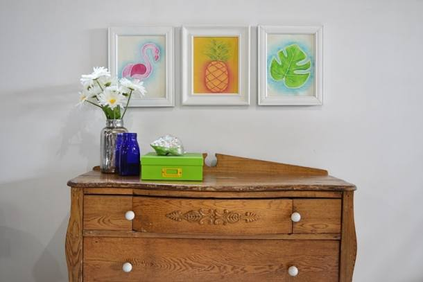How to make tropical art using watercolor fabric paint