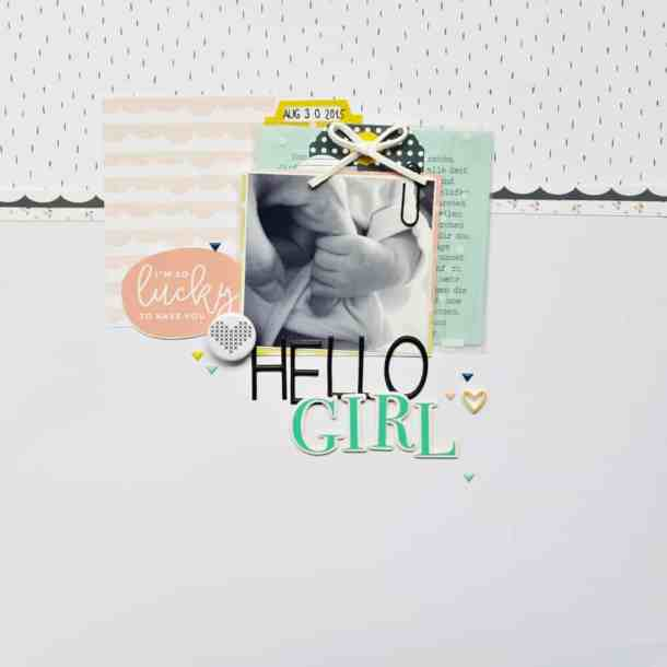 Baby girl scrapbook layout using Felicity Jane scrapbook kit.