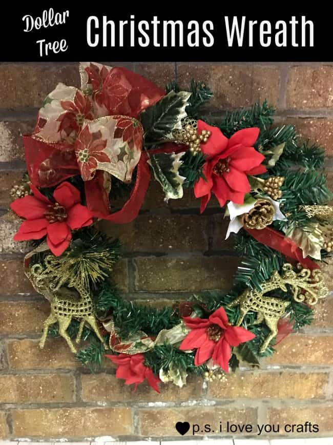 Dollar Tree Christmas Wreath PS I Love You Crafts