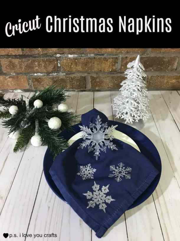 Make beautiful Christmas Table Napkins using silver glitter iron on vinyl and the Cricut Maker or Cricut Explore.