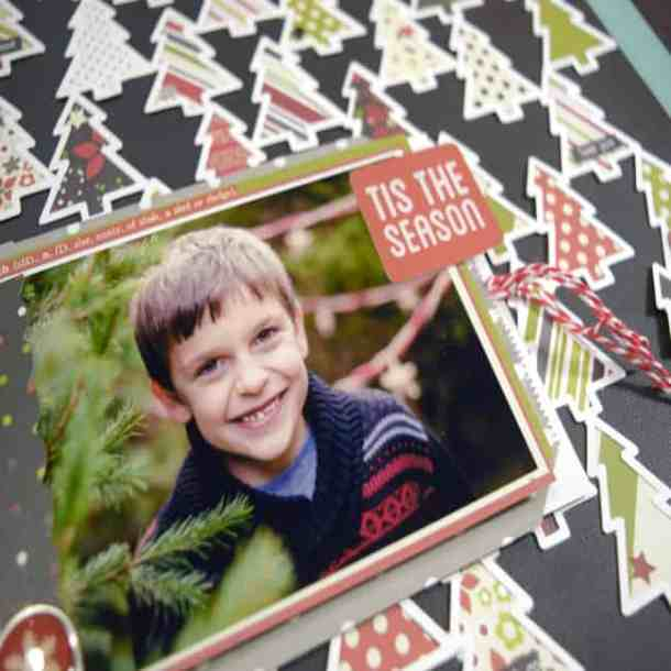 Make this festive Christmas Scrapbook Page Layout with the Silhouette Machine. The Christmas Tree background looks great against the black cardstock.