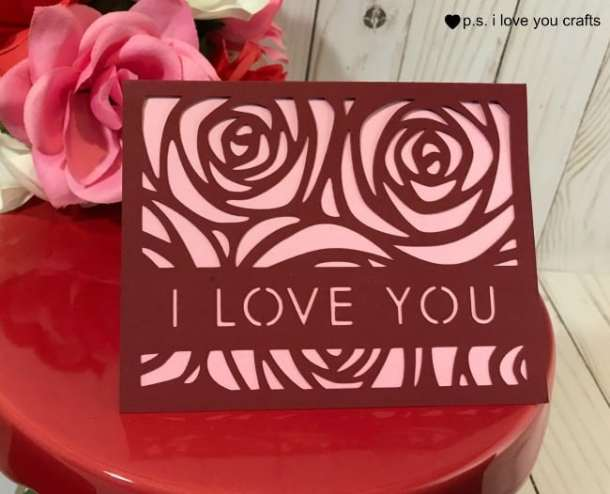 Make these Easy Cricut Valentine Cards. The files are free in Cricut Design Space, and you can cut them with the Cricut Explore or Cricut Maker. Say I Love You With roses or a dinosaur card. #cricutmaker #cricutexplore #cricut #cricutcard #valentinecard