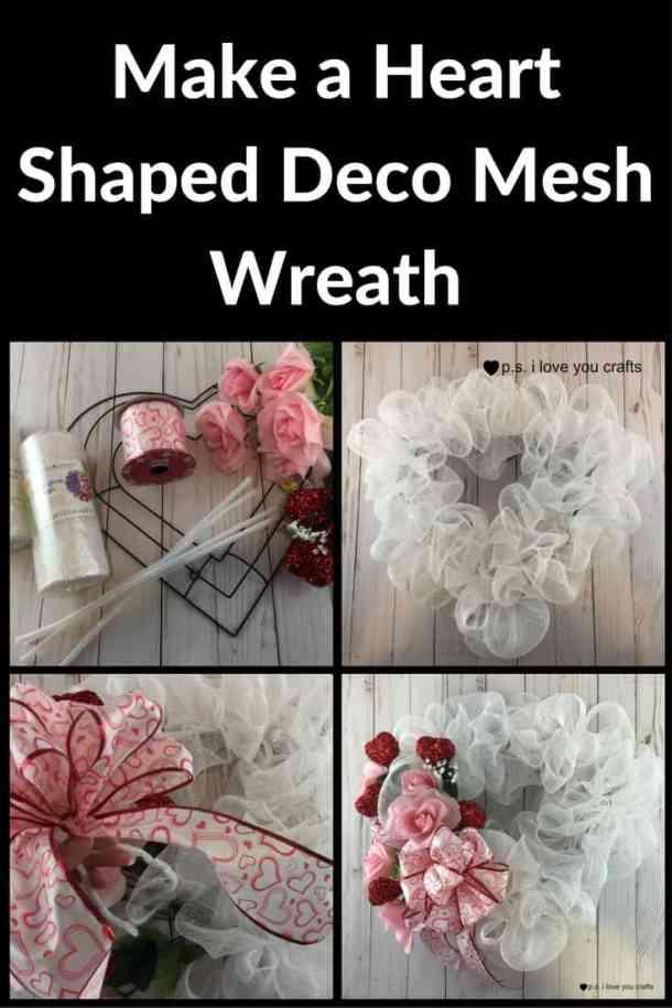 Make a heart deco mesh wreath for Valentine's Day. #decomesh #valentinesday #valentinecraft #wreath