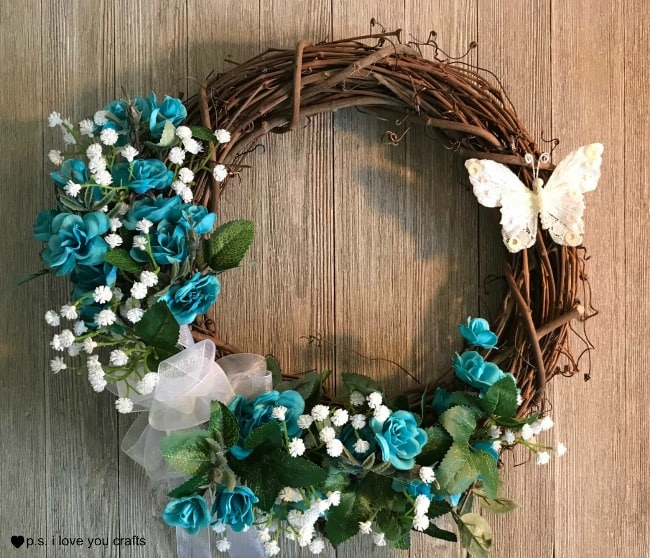 DIY Dollar Store Wreath for Spring - P.S. I Love You Crafts