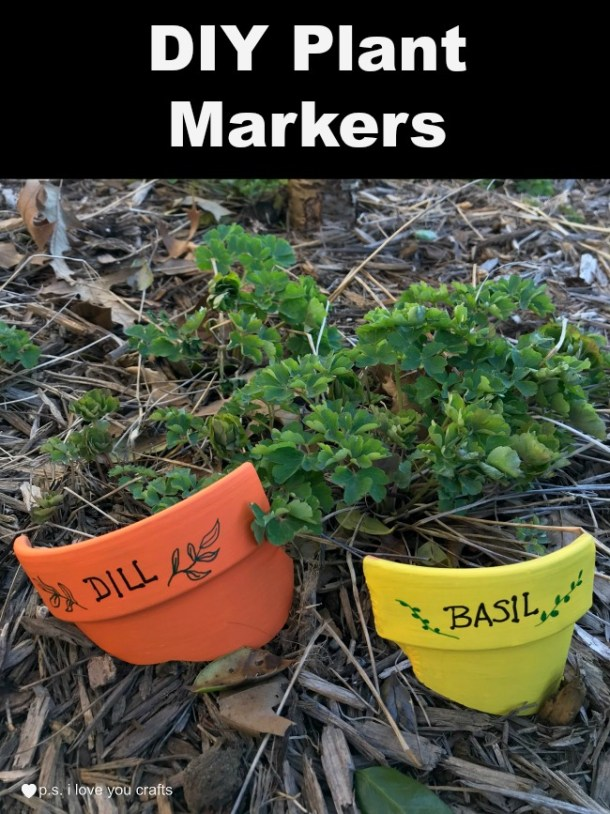 These DIY Plant Markers will mark the herbs in your garden. Super quick and easy to make. #claypotcraft #crafts