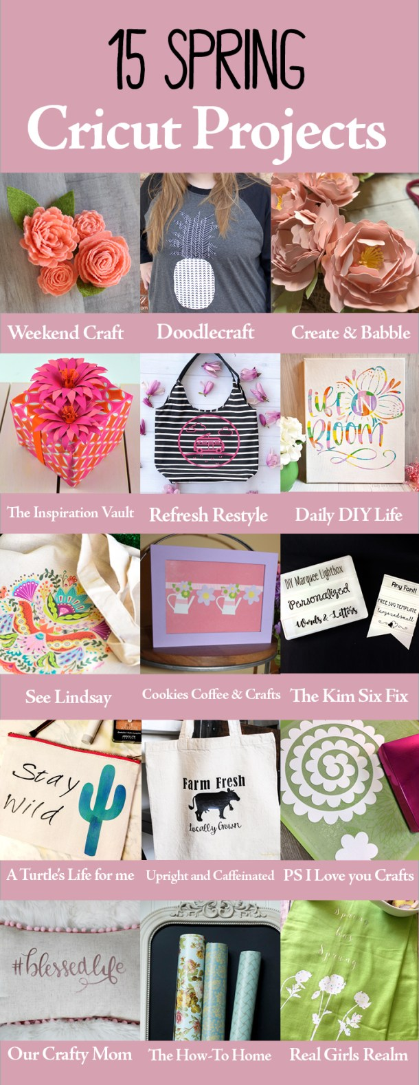 Here are 15 Spring Cricut Projects to inspire your creativity. Use the Cricut Maker or the Cricut Explore. #cricut #cricutmaker #cricutexplore