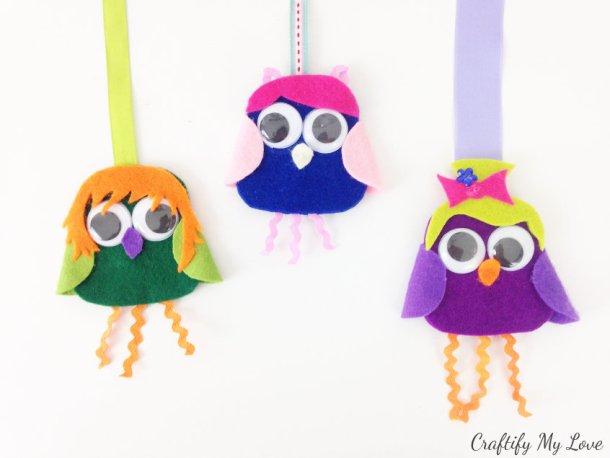 diy owls felt craft bookmarks. A fun mix & match kids activity