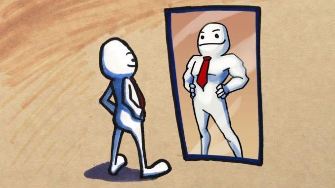 Mirando autoestima en espejo