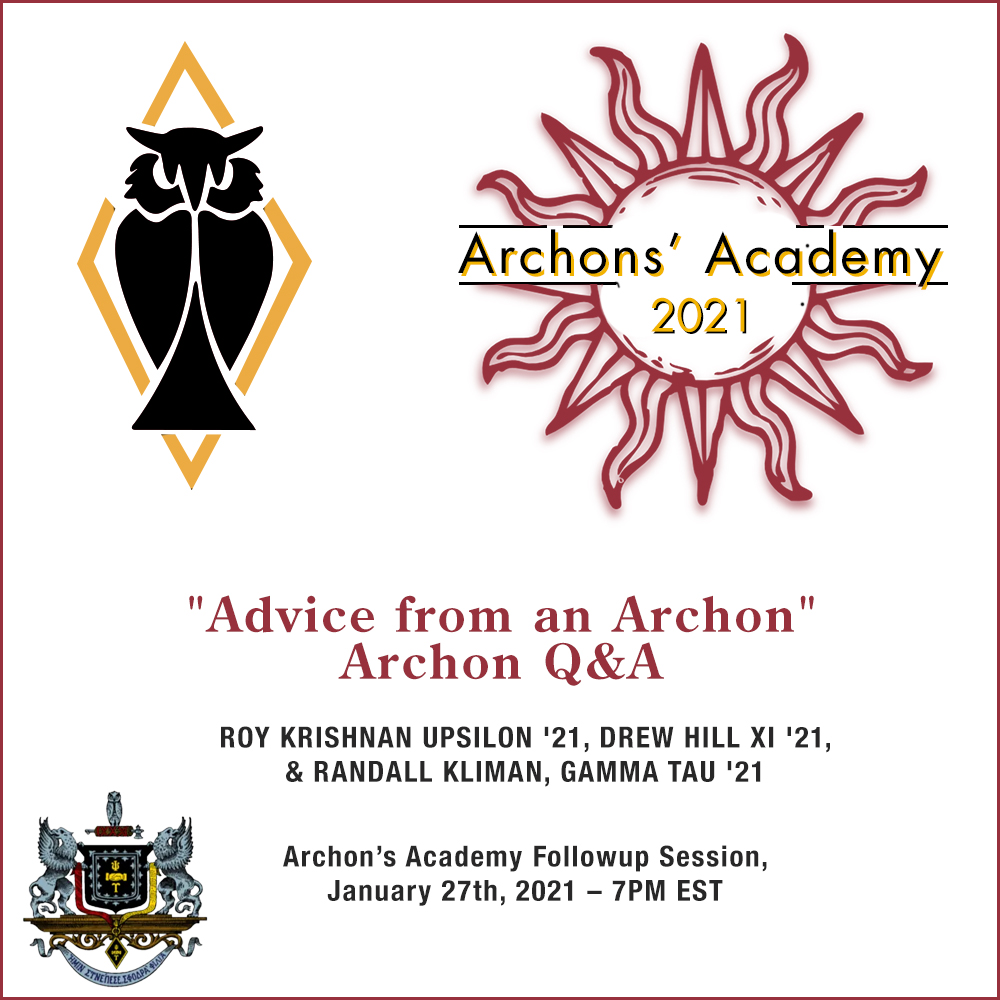 """1.27.2021 – """"Advice from an Archon – Archon Q&A"""""""