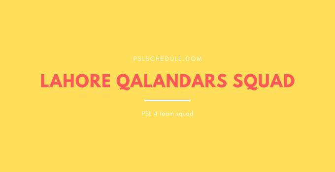 Lahore qalandars squad 2019